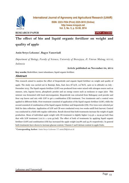 The effect of bio and liquid organic fertilizer on weight and quality of apple