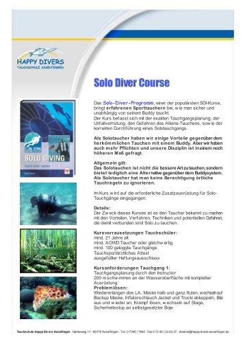 Solo Diver Course - Happy Divers Asselfingen