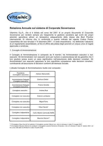Relazione Annuale sul sistema di Corporate Governance