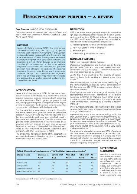 henoCh-sChönlein purpura – a review