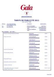 TARIFS DE PUBLICITÉ 2011 - Les Tarifs de la Presse