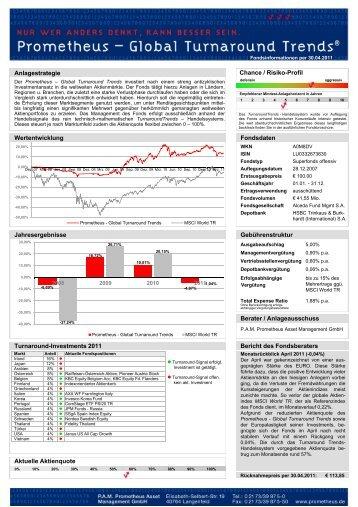 Wertentwicklung Anlagestrategie Chance / Risiko ... - Prometheus