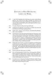 zeittafel zu rolf hochhuths leben und werk - Dr. AJ Denkena Verlag