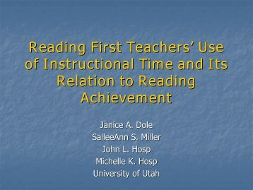 Reading First Teachers' Use of Instructional Time - University of Utah