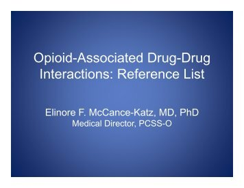 Opioid-Associated Drug-Drug Interactions: Reference List - PCSS-O
