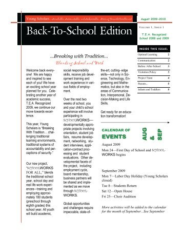Back-To-School Edition - YOUNG SCHOLARS ACADEMY FOR ...