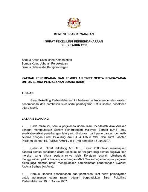 Surat Pekeliling Perbendaharaan Bil 2/2010