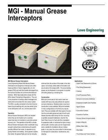 MGI - Manual Grease Interceptors