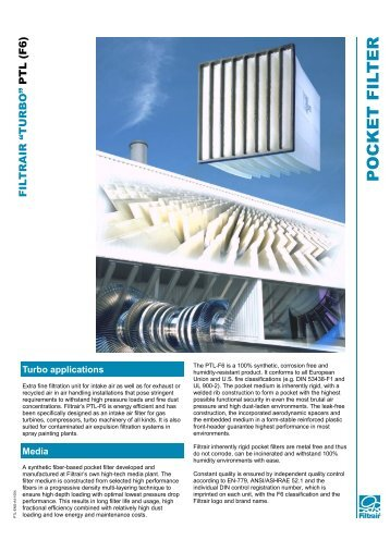 PTL Rigid Pocket Filters - Filtrair BV