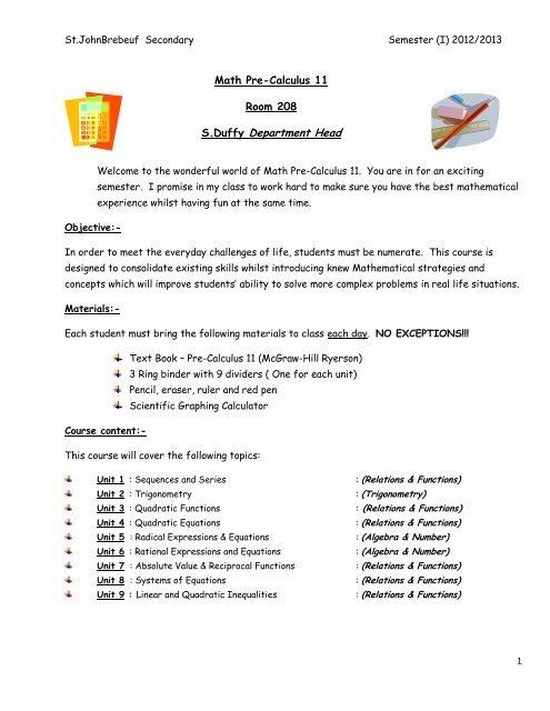 Math 11 Pre-Calculus Course Outline - St John Brebeuf