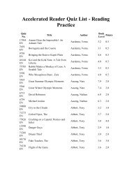 Accelerated Reader Quiz List - Reading Practice - White Pine