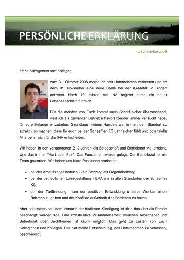 Erklãrung Des Betriebsrates Der Adam Opel Ag Ig Metall