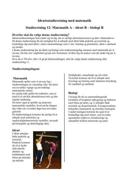 Idrætsstudieretning med matematik Studieretning 12: Matematik A ...