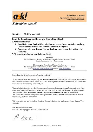 Kolumbien-aktuell No. 482 / 27. Februar 2009 - ask! Arbeitsgruppe ...