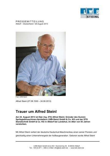 Trauer um Alfred Steinl - LWB Steinl GmbH & Co. KG