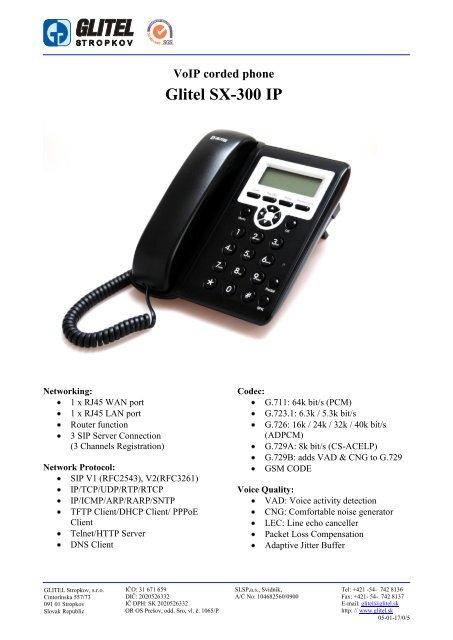 VoIP corded phone Glitel SX-300 IP - GLITEL Stropkov, sro