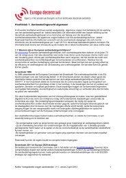 Hoofdstuk 1: Aanbestedingsrecht algemeen - Europa decentraal
