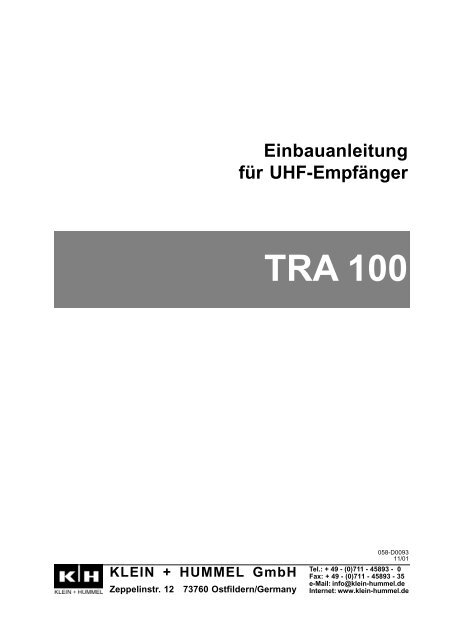Einbauanleitung für UHF-Empfänger Version 11/01 - Klein + Hummel