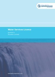Water services licence - Water Industry Commission for Scotland