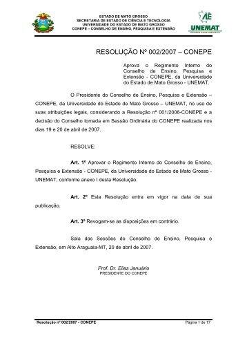 Resolução 002-2007 - Conepe - Reg. do CONEPE - Unemat