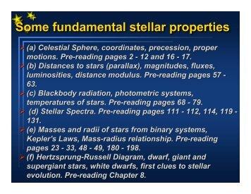 Some fundamental stellar properties
