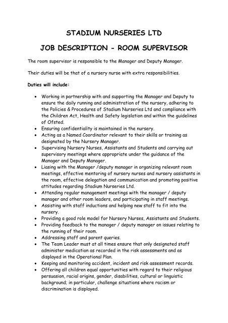 Stadium Nurseries Ltd Job Description
