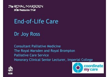 Joy Ross - The Royal Marsden