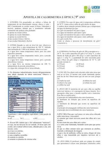 APOSTILA DE CALORIMETRIA E ÓPTICA | 9º ANO - liceu.net