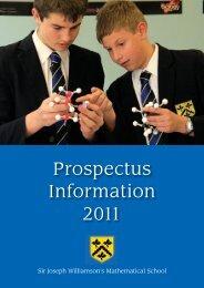 Prospectus Information 2011 - Sir Joseph Williamson's Mathematical ...