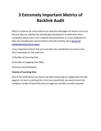 3 Extremely Important Metrics of Backlink Audit