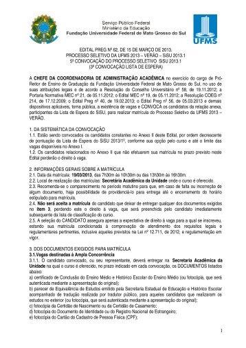 Sistema de Seleção Unificada 2013 - copeve - ufms - Universidade ...