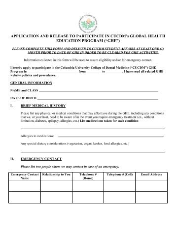 Permission For ParticipationMedical Release Form  Office Of