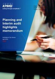 Planning and Interim Audit Highlights - Nottingham City Homes