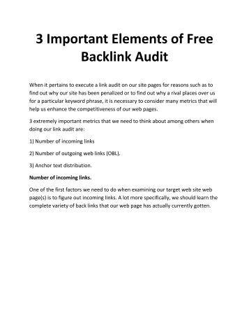 3 Important Elements of Free Backlink Audit