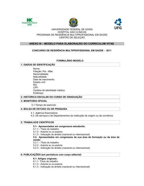 curriculum vitae cpf rg filiação