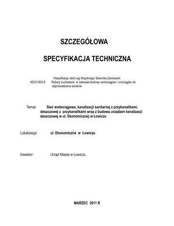 Specyfikacja techniczna wykonania i odbioru