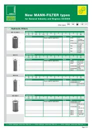 New MANN-FILTER types for Gen. Industry and - Mann & Hummel