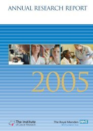 Joint Annual Research Report 2005 - The Royal Marsden