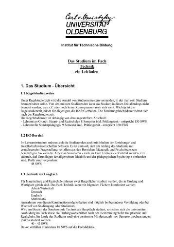 Das Studium im Fach Technik - Technische Bildung
