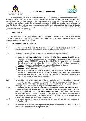 E D I T A L  ED02/COPERVE/2005 A Universidade Federal de Santa ...