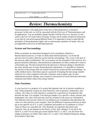 Packet 11 Thermochemistry