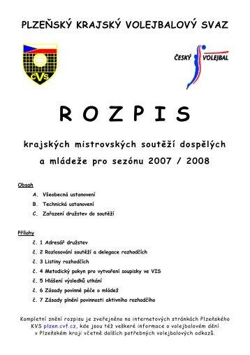 rozpis krajských soutěží 2007/2008 - Plzeňský krajský volejbalový ...
