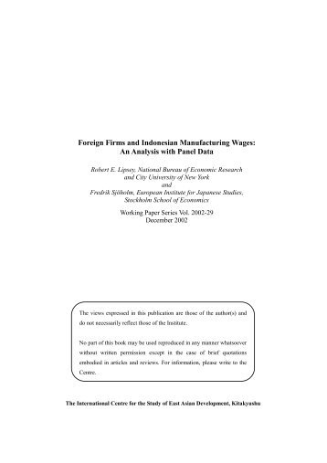 Foreign Firms and Indonesian Manufacturing Wages: An Analysis ...