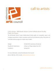 call to artists - Public Art - Edmonton Arts Council