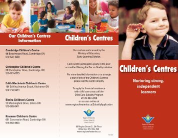 Children's Centres - Social Services - Region of Waterloo