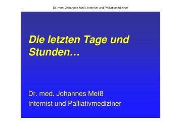 Vortrag Dr. med. Johannes Meiß