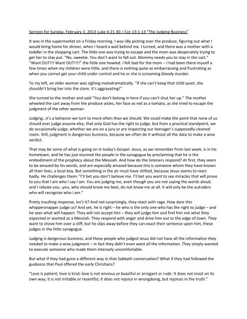 Sermon for Sunday, February 3, 2013 Luke 4:21-30, I Cor 13:1