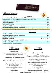 Tagesempfehlung Wildmenü s'Menü - Restaurant Sternen