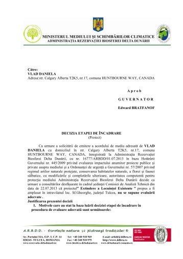 proiect decizie - Rezervatia Biosferei Delta Dunarii