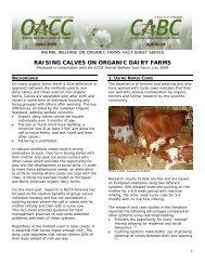 RAISING CALVES ON ORGANIC DAIRY FARMS
